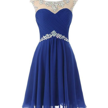 A-line Knee-length Scoop Chiffon Beading Homecoming Dress