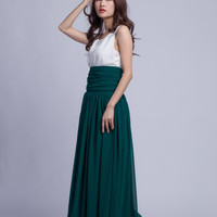Floor Length Summer Skirt High Waist Maxi Skirts Beautiful Chiffon Long Skirt Pleated Waist Women Skirt (501) ,77#