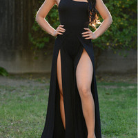 Black One Shoulder Sleeveless Maxi Dress with Double Slit
