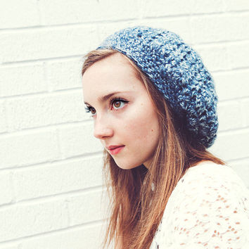 Denim Blue/White Handmade Slouch Hat  Boyfriend Beanie