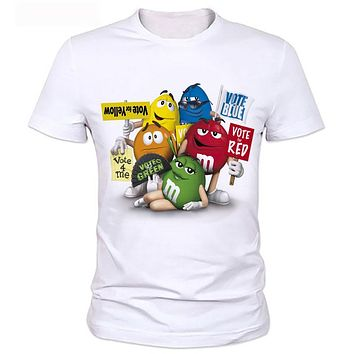 The man's printed t-shirts New Cartoon Peanut chocolate m&m's Emoji Print Cute Unisex Men t shirt Casual Hip Pop 88#