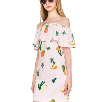 Pineapple Cactus Off Shoulder Dress