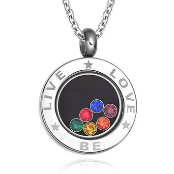 LGBT NECKLACE Live Be Love Jewelry Pride Necklace Rainbow Rhinestones Bisexual Marriage Gay Pride Jewelry Stainless Steel Chain 23.6""