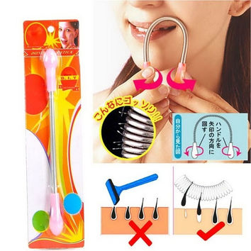 New Face Facial Hair Spring Remover Stick Removal Threading Tool (Size: 24cmx6cm, Color: Pink) = 1705726148
