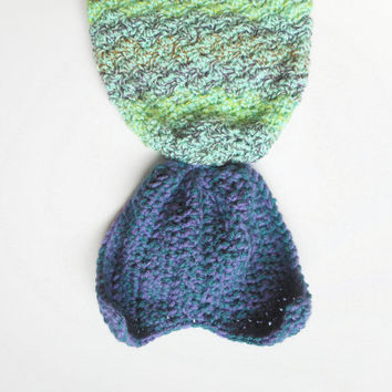 Baby Girl Mermaid Tail Blanket in Mint with Lavender and Teal Fin, Infants 3-6 Months, ready to ship.