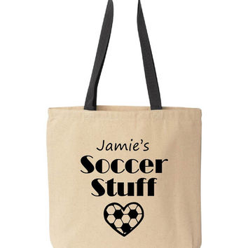 Personalized Soccer Tote Bag. Soccer mom tote bag. Personalized with your child's name. Soccer tote bag. Soccer stuff. Pink pig printing.