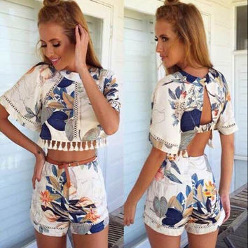 Short Sleeve Hollow Out Crop Top High Waist Slim Shorts Two Piece Set