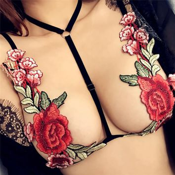 Colorful Flower Sexy Exotic Apparel Harness Belt Cage Bra Lingerie Chain Necklace Body Jewelry for Women Girls Collares