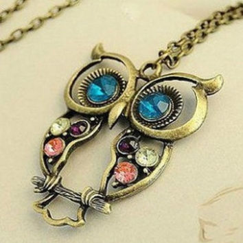 Fashion Punk Alloy Owl Coloful Rhinestone Womans Necklace