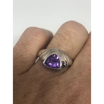 Vintage purple Amethyst Ring 925 Sterling Silver gothic SIze 8