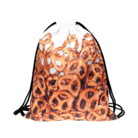 Drawstring Bag in food pretzel pattern in brown color for string bag