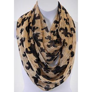 Black and Gold Fleur De Lis Infinity Scarf