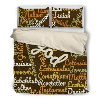 Brown Holy Bible Books Beige Bedding set