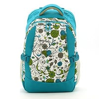 Mariego Diaper Bags Backpack with Insulated 2 Bottle Pockets (Blue Printing Floral)