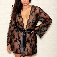 Plus Size Sheer Lace  Robe