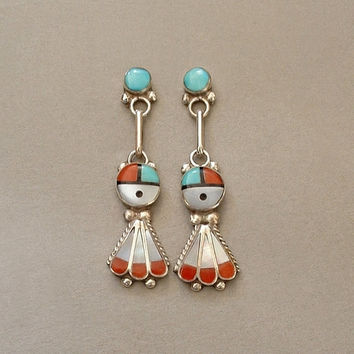CHARLENE CHICO Vintage Native American Coral Turquoise ZUNI Earrings Sunface Sun Face Sterling Kachinas