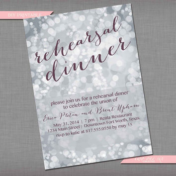 Silver Bokeh Bridal Shower Invitation - Custom Rehearsal Dinner Invitation - Customized Bachelorette Bridal/Lingerie Shower Invitation