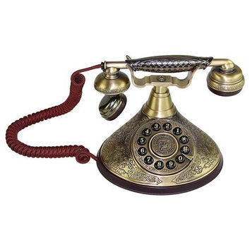 LNC Antique Style Push Button Dial Desk Phone Home and Office Decor