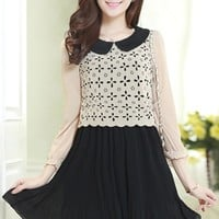 Cutout Overlay Chiffon Dress