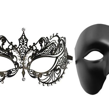 2 Pack Masquerade Mask To Lovers Laser-Cut Metal Crystal Costume Mask With Phantom Of The Opera Women Mask