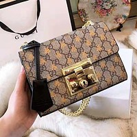 "Hot Sale ""GUCCI"" Newest High Quality Popular Women Leather Metal Chain Shoulder Bag Crossbody Satchel"