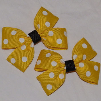 Yellow Polka Dot ~ Clippie Pigtail Hair Bow Set ~ Bumble Bee ~ Yellow and White ~ Small Bows ~ Easter Bows ~ Spring Hair Bows