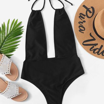 Plunging Halter Open Back One Piece Swimsuit