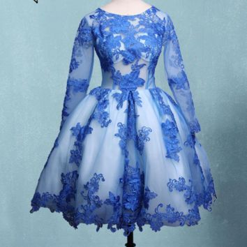 Royal Blue Short Evening Dress Tulle Ball Gown Applique Long Sleeves Prom Party Gowns