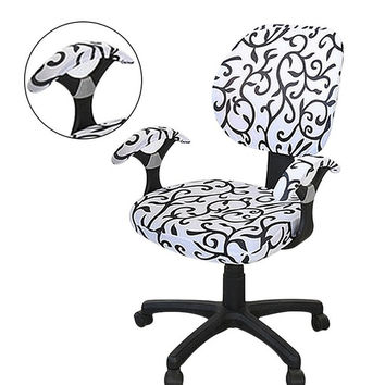 Chair Covers Handle Computer Office Pure Color Universal Chair Covers Stretch Rotating Spandex Chair Slipcovers