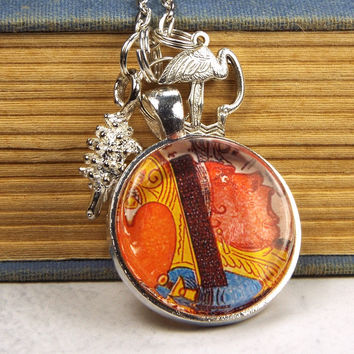 Queen of Hearts Glass Tile Alice in Wonderland Necklace with Flamingo & Hedgehog Charms