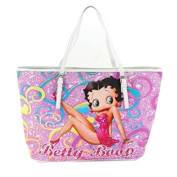 Betty Boop Pink Floral Pattern Vegan Leather Large Tote Bag Purse