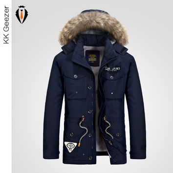 Winter Jacket Men  Corduroy Warm Thicken Coat Windproof Hooded Fashion Tether Elegant Business Parka Male