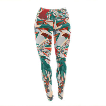 "Danny Ivan ""Soccer Headshot"" Teal Red Yoga Leggings"