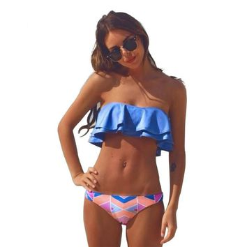 Ruffle Bikinis Women Swimsuit Push Up Swimwear Women Sexy Bandeau Print Bikini Set Beach Bathing Suits