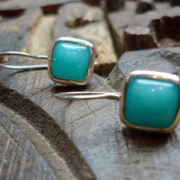 Simple sterling silver earrings with amazonite stone by Ellishshop