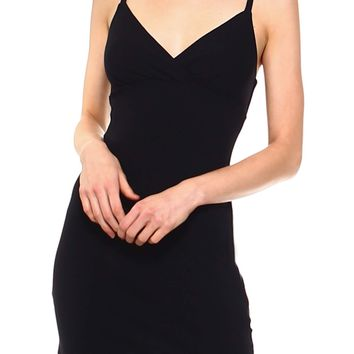 Teeze Me | Spaghetti Strap Surplice Bodycon Dress | Black