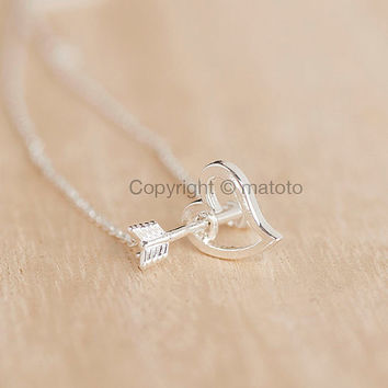 Silver Arrow Heart Necklace, Open Heart Arrow Cupid Necklace