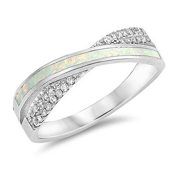 A Perfect Australian White Opal Wedding Band Ring