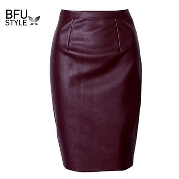 Sexy Faux Fur Leather Pu Skirt High Waist Women Midi Pencil Skirts Pink Office Wrap Bodycon Nightclub Short Girls Tutu Saia