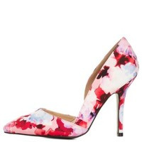 Pink Multi Qupid Pointed Toe Floral D'Orsay Pumps