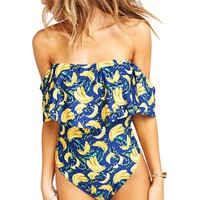Banana Print Off The Shoulder Swimsuit