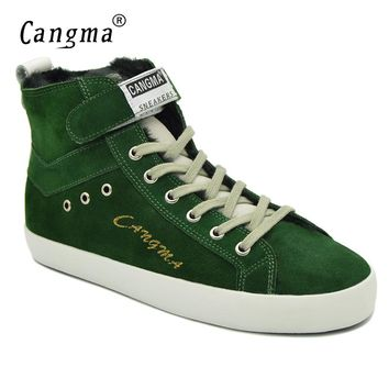 CANGMA Italy Designer Woman's Boots Casual Shoes Genuine Leather Sneakers Women Lace Up Cow Suede Shoes Green Ankle Boots Female
