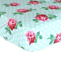 Fitted Crib Sheets | Retro Florals Mint and Rose