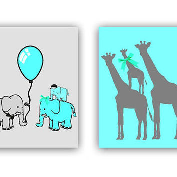 Zoo Nursery Decor, Safari Nursery Wall Art, Elepants Family, Giraffe family wall art, Animals Nursery Art, Safari Baby room, Zoo wall art