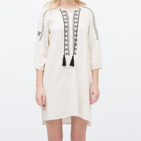 White Embroidered Tie-Neck Sleeve Shirt Dress