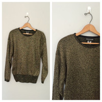Gold metallic sweater / 70s gold and black sweater