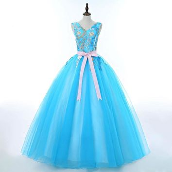 V-Neck Fresh Sky Blue Candy Color Evening Dress Ball Gown with Bow Sashes Best Design for Elegant Ladies in Formal Parties