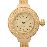 Embellished Face Gold-Colored Watch - Gold