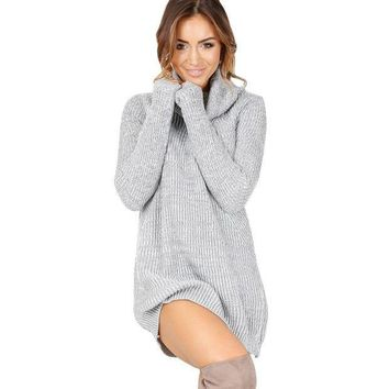fashion solid robe long sleeve knitted dress sweater free christmas gift random necklace  number 1