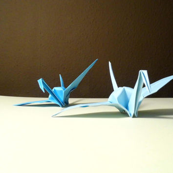 2 blue tone Origami Paper Wedding Crane, Wedding Crane, Origami Crane, Blue Crane, Wedding Decoration Crane, Origami wedding, Set of 100